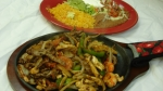 Fajitas Jalisco (Single) - Chicken, beef and shrimp.